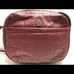 Etienne Aigner Faux Croc Leather Burgundy Bag
